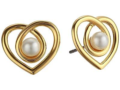 Kate Spade New York Infinite Hearts Studs Earrings (Cream/Gold) Earring