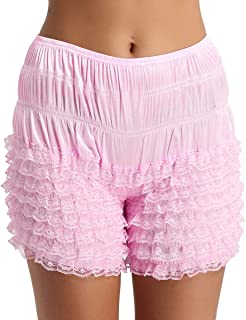 MSemis Women's Multi-Layer Ruffled Frilly Lace Knickers Panties Burlesque Bloomers Dance Shorts Pettipants