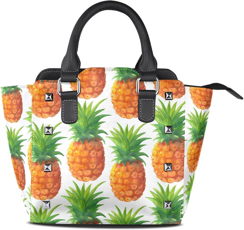 My Little Nest Women's Top Handle Satchel Handbag Watercolor Pineapples Pattern Ladies PU Leather Shoulder Bag Crossbody Bag