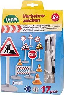 Lena 04440 - Verkehrszeichen Set mit 17 Teilen, mit 9 Verkeh
