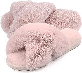 Gainsera Pantofole Peluche Donna Ciabatte Pelose Donna Pantofole con Pelliccia Ciabatte da Casa Comode Invernali Moda Scarpe