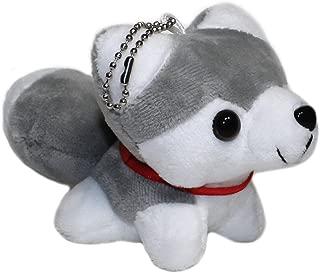 "Lucore 6"" Smiling Husky Puppy Plush Stuffed Animal Toy Keychain - Mini Sized Hanging Dog Doll Lucky Charm"