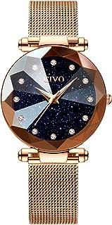 CIVO Women's Watches Rose Gold Ladies Waterproof Watch Stainless Steel Mesh Analog Quartz Wrist Wacthes for Woman Fashion Simple Minimalist Design Blue