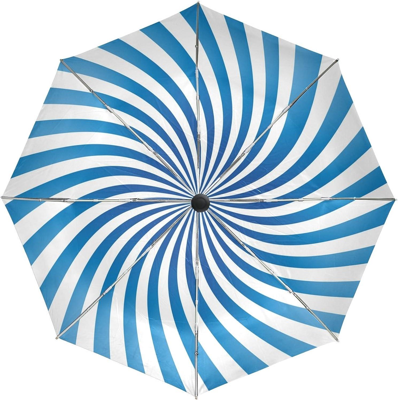 GIOVANIOR bluee Abstract Spiral Windproof Foldable Rain Travel Canopy Umbrella Auto Open Close Button