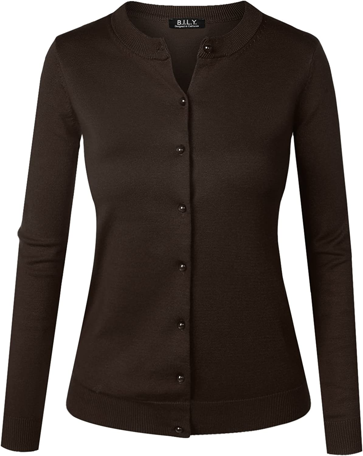 BH B.I.L.Y USA Women's Unique Button Long Sleeve Soft Knit Cardigan Sweater Brown 1XLarge