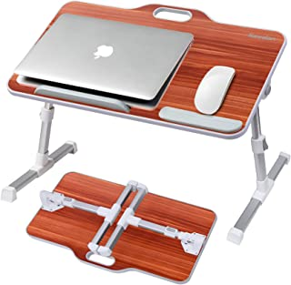 Laptop Desk Stand, Kavalan Portable Laptop Bed Tray Table with Top Handle, Height & Angle Adjustable Sit and Stand Desk, F...