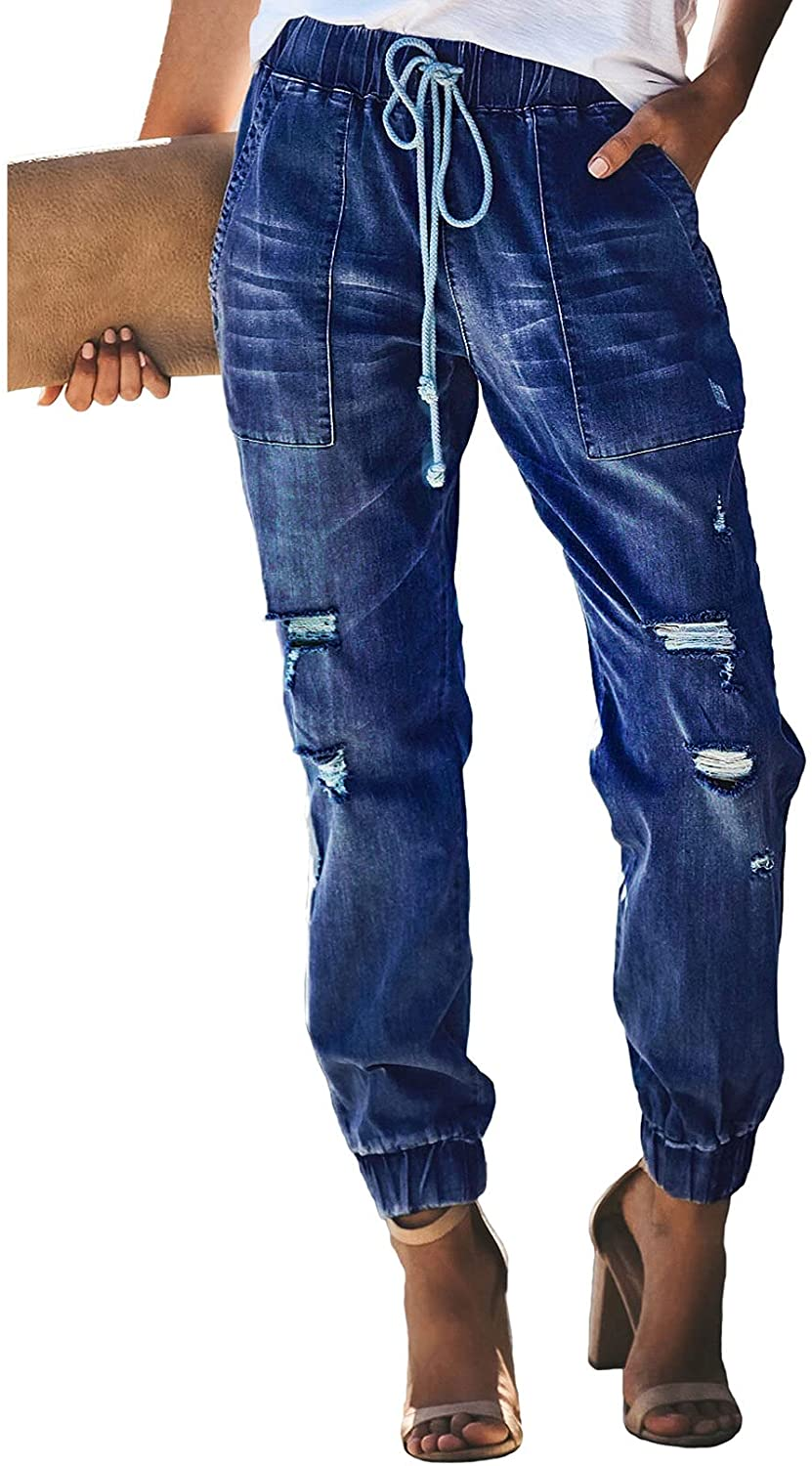 Sidefeel Women Pull-on Distressed Denim Joggers Elastic Waist Stretch Pants at  Women's Jeans store