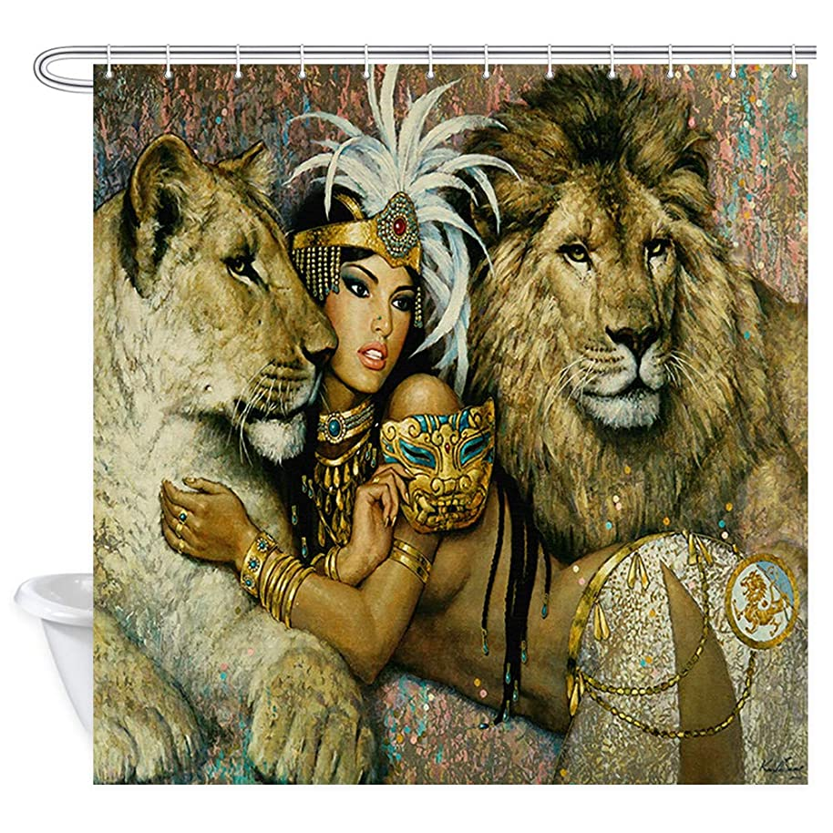 NYMB Safari Décor Shower Curtain, Animals Lion Girl Shower Curtains,Waterproof Fabric Bathroom Decorations, Bath Curtains 12 PCS Hooks, 69X70 inches