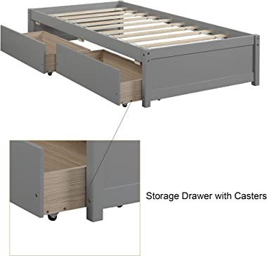 MemaRo Twin Platform Bed with 2 Storage Drawers, Solid Wood Daybed, No Box Spring Need, Easy Assembly (Grey)