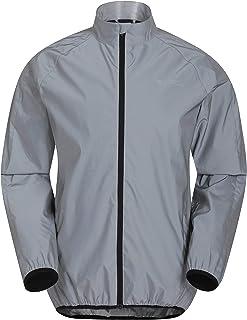 Mountain Warehouse 360 Reflective Mens Jacket - Water Resistant Unisex Rain Jacket, Breathable, Front Pockets, Full Zip Ra...