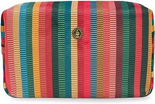 Cosmetic Bag Square Large Velvet Jacquard Stripe Multi 28x13x17cm