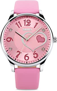 Vavna Girls Analog Watch, Fashion Lady Quartz Wrist Watch Leather Strap Big Face Fun Cute Watches with Lovely Heart Shape Water Resistant - Pink