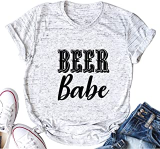 Beer Babe T-Shirt Women Drinking Shirt Short Sleeve O-Neck Letter Print T Shirt Tee