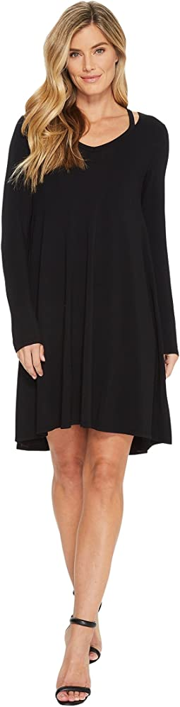 Mod-o-doc Cotton Modal Spandex Jersey Split Shoulder High-Low Dress