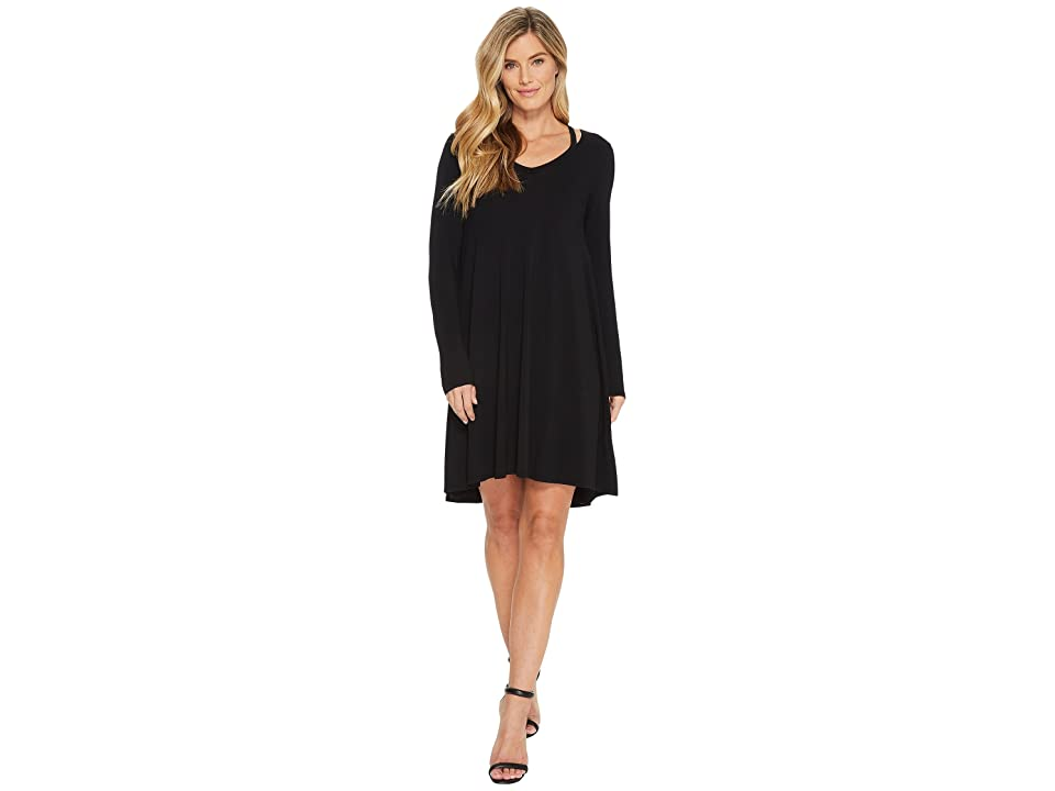 Mod-o-doc Cotton Modal Spandex Jersey Split Shoulder High-Low Dress (Black) Women