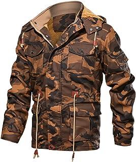 Sunward Men's Zipper Hoodie Camouflage Autumn Winter Imitation Leather Coat Blouse