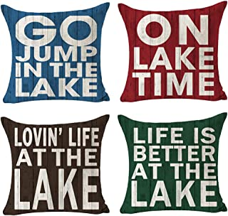 Andreannie Best Summer Gift Life is Better at The Lake Welcome to Our Lake House Cotton Linen Throw Pillow Cover Cushion C...