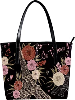Lorvies - Borsa a tracolla da donna, stile vintage, con motivo a torre Eiffel, in pelle PU
