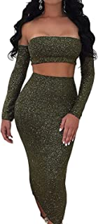 ioiom Women Sparkly Sexy Off Shoulder Backless Long Sleeve Lace Up Cut-Out Bodycon Dress