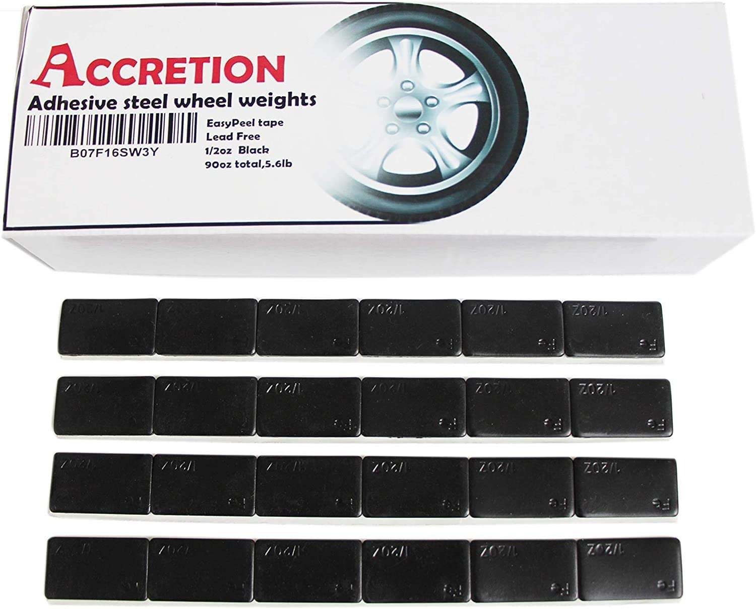 ACCRETION 1//2 Oz Grey Steel Adhesive Backed Wheel Weights 48 pcs 24 Oz Pack