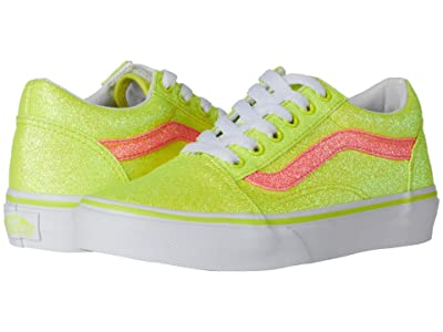 Vans Kids Old Skool (Little Kid) ((Neon Glitter) Yellow/True White) Girls Shoes