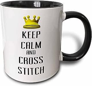 3dRose 120795_4 Gold Crown Keep Calm And Cross Stitch Two Tone Black Mug 11 oz White