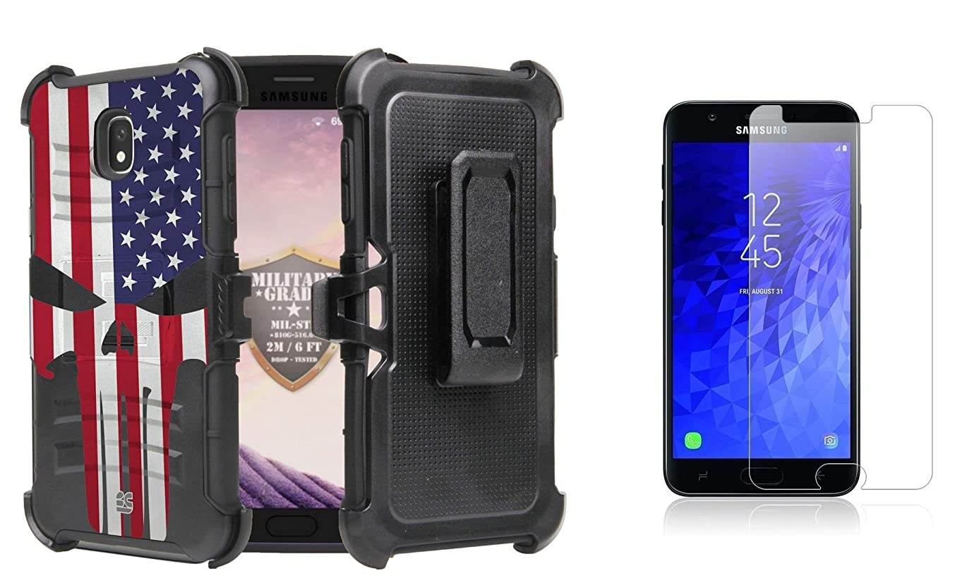 BC Rugged Dual Layer Armor Kickstand Holster Case (USA Skull Flag) with Bubble-Free Tempered Glass Screen Protector and Atom Cloth for Samsung Galaxy J7 2018 (J7 V 2nd Gen, Refine, Star, Aero)