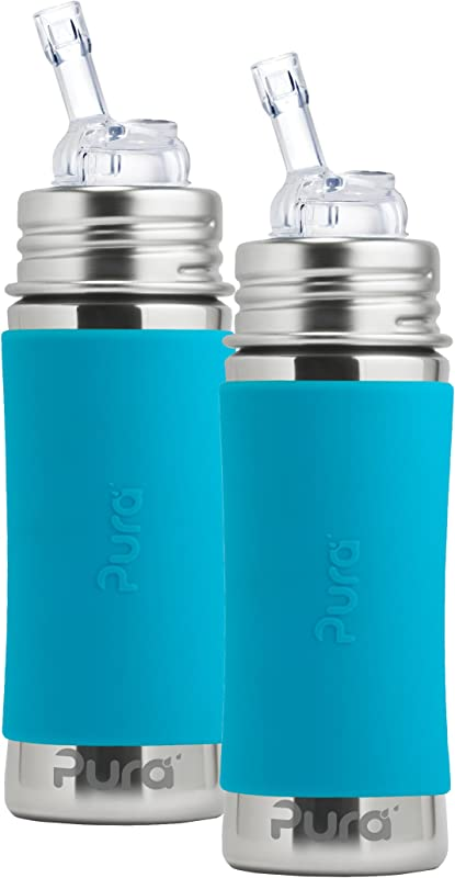 Pura Kiki Stainless Steel Straw Bottle With Aqua Silicone Sleeve 11 Ounce Set Of 2