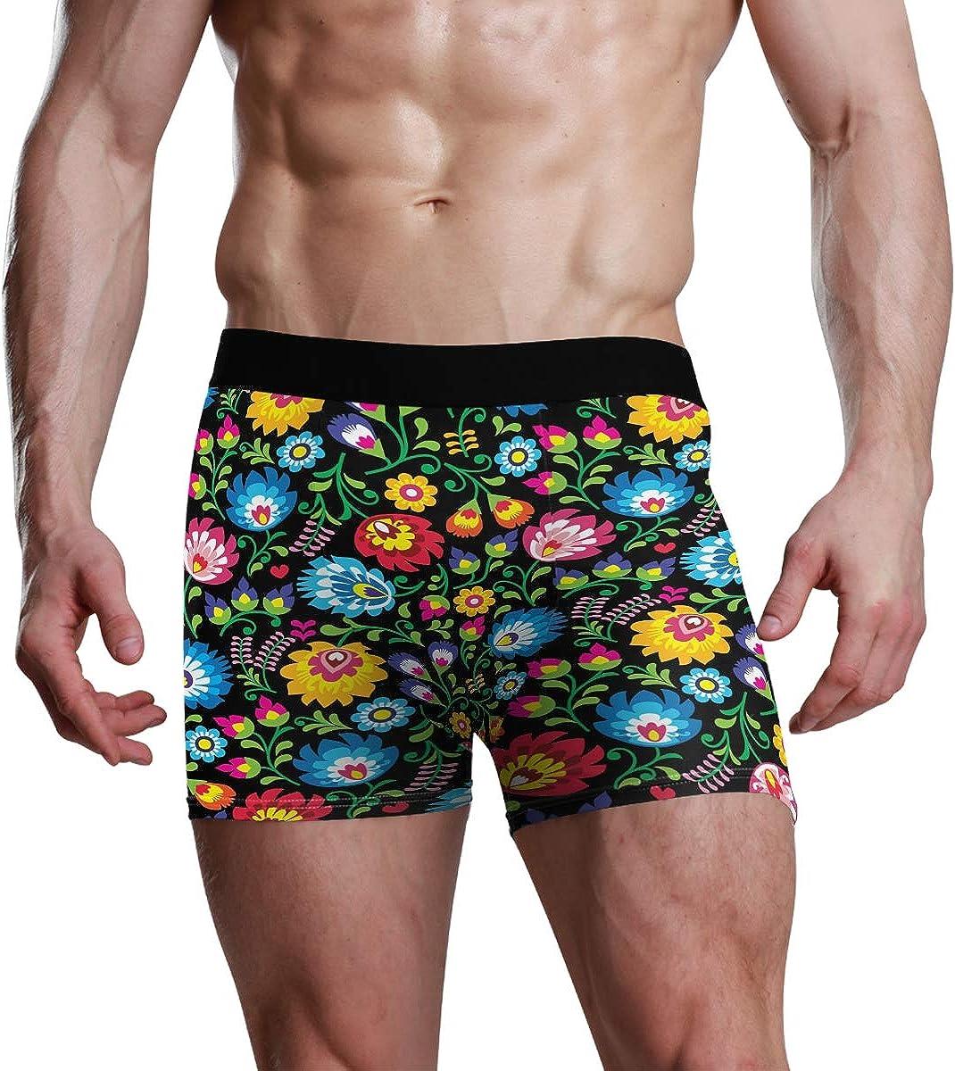Men's Underwear Seamless Vector Polish Folk Art Floral Pattern Breathable Boxer Briefs Low Rise Long Leg