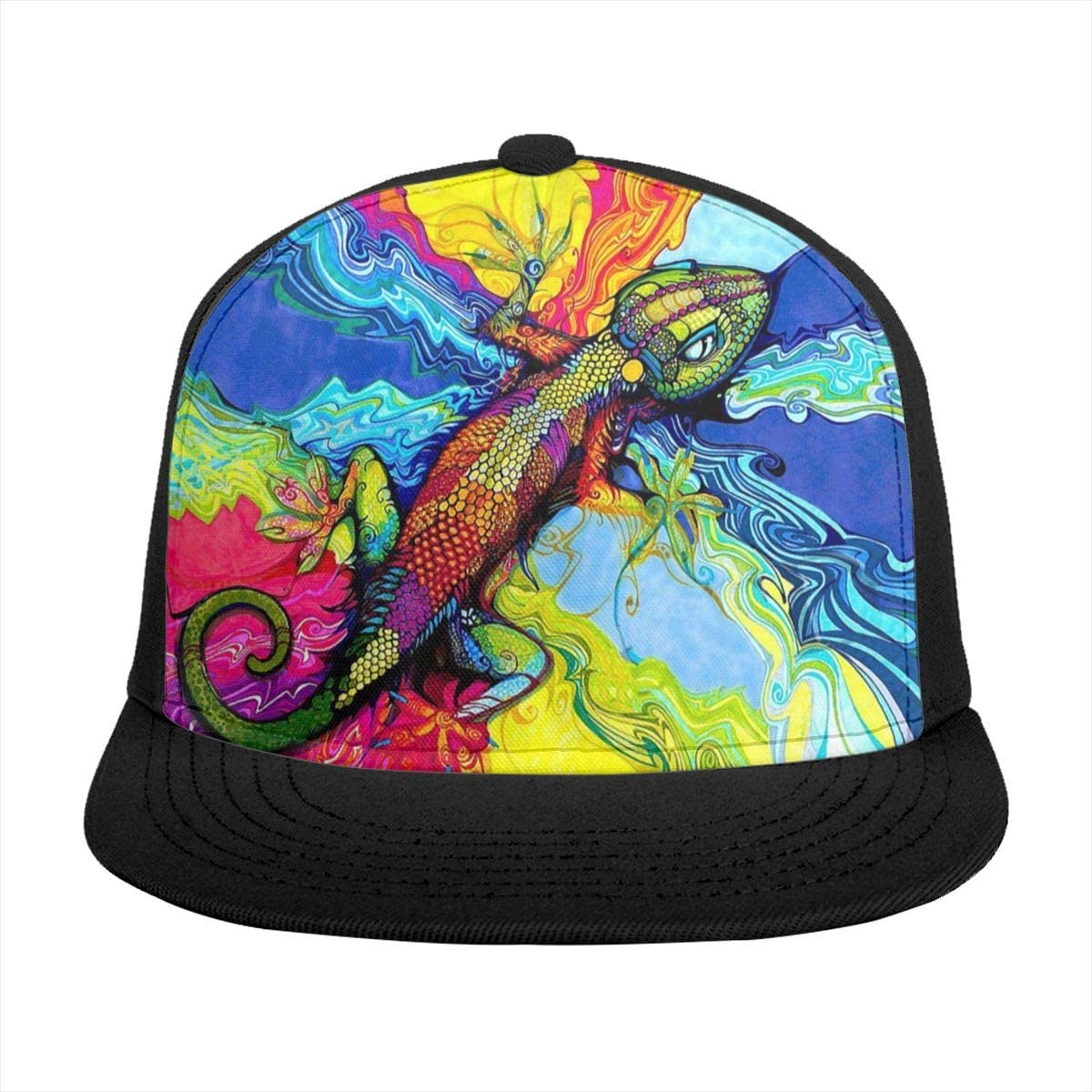 Crazy Talk Colorful Gecko Sun Hats Adjustable Baseball Cap Wide Brim Snapback Trucker Hats for Men Women, Large