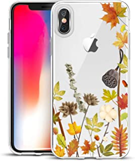 Unov Compatible Case Clear with Design Slim Protective Soft TPU Bumper Embossed Floral Pattern [Support Wireless Charging] Cover for iPhone Xs (2018) iPhone X (2017) 5.8 Inch(Leaves Lyrics)