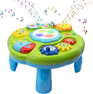 Baby Toys Musical Learning Table 12x12x7inch Music Activity Center Table Toys for Infant Babies Toddler Kids Boys Girls 6-...