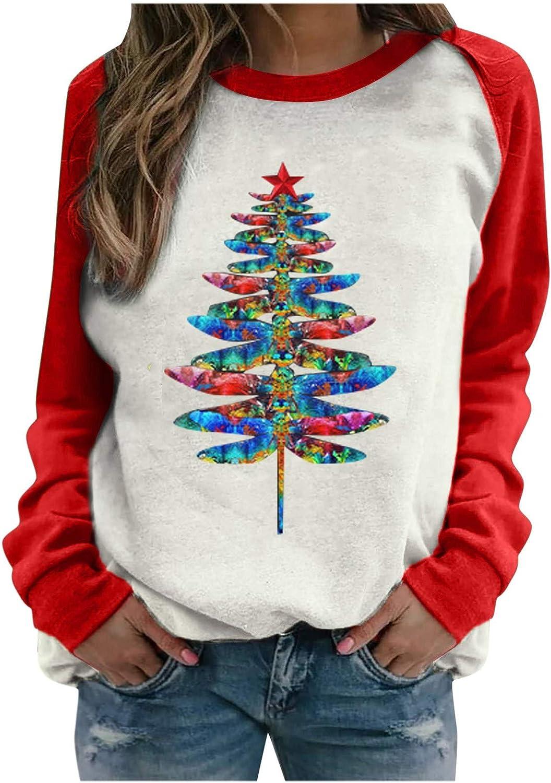 Women Casual Christmas Print Sweatershirt Round Neck Tops Long Sleeve T-Shirt Loose Cute Blouse