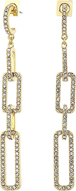 Pave Link Post Linear Earrings