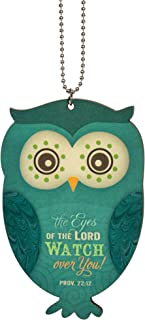 P. Graham Dunn The Eyes of The Lord Watch Over You Owl Blue Wood Car Charm