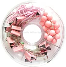 65 PCS Pink Push Pins/Paper Clips/Binder Clamps/Binder Clips, Pink Office Supplies Bulletin Boards Thumb Tacks Set Desk Accessories for School Supplies