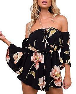 Women's Summer Floral Off Shoulder 3/4 Flared Sleeve...