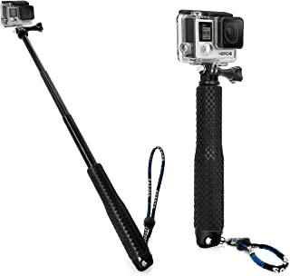 MyGadget GoPro Selfie Stick en Aluminio Extensible - Palo de Selfie Extensión Ajustable para Cámaras GoPro Hero 8 7 6 5 4 3 3+ / Sony Action CAM – Negro
