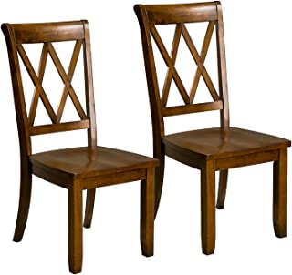 Standard Furniture Vintage Transitional Style Dining Side Chairs, Pack of 2, Brown