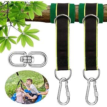 Trekassy Tree Swing Hanging Hammock Straps with Tree Carabiners loops 5200lbs US