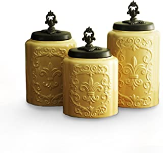 American Atelier 1182144-RB Canister Set, Cream/Light Yellow