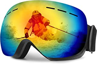 WELLVO Ski Goggles OTG Snowboard Goggles Anti-Fog UV Protection, Dual Lens Snow Goggles for Men Women Youth Helmet Compatible