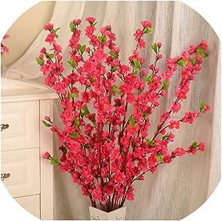 Huzzg 50inch Artificial Cherry Spring Plum Peach Blossom Branch Silk Flower Tree Decor P20,Red