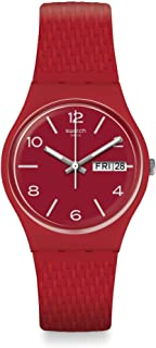 Swatch GR710 Silicone Woven Band Contrast Markers Round Analog Unisex Watch - Red