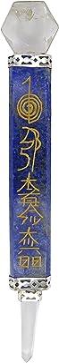 HARMONIZE Lapis Lazuli Stone Hand Craft Engraved Crystals Flat Healing Wand with Clear Quartz Reiki