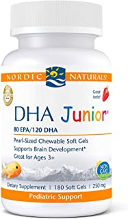 Nordic Naturals Pro DHA Junior, Strawberry - 180 Mini Chewable Soft Gels - 250 mg Total Omega-3s with EPA & DHA - Brain De...