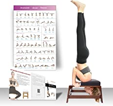 Restrial Life Yoga Headstand Bench - Yoga Inversion Trainer for Family, Gym - 100% Beech and PU Pads - Relieve Fatigue and Build Up Body