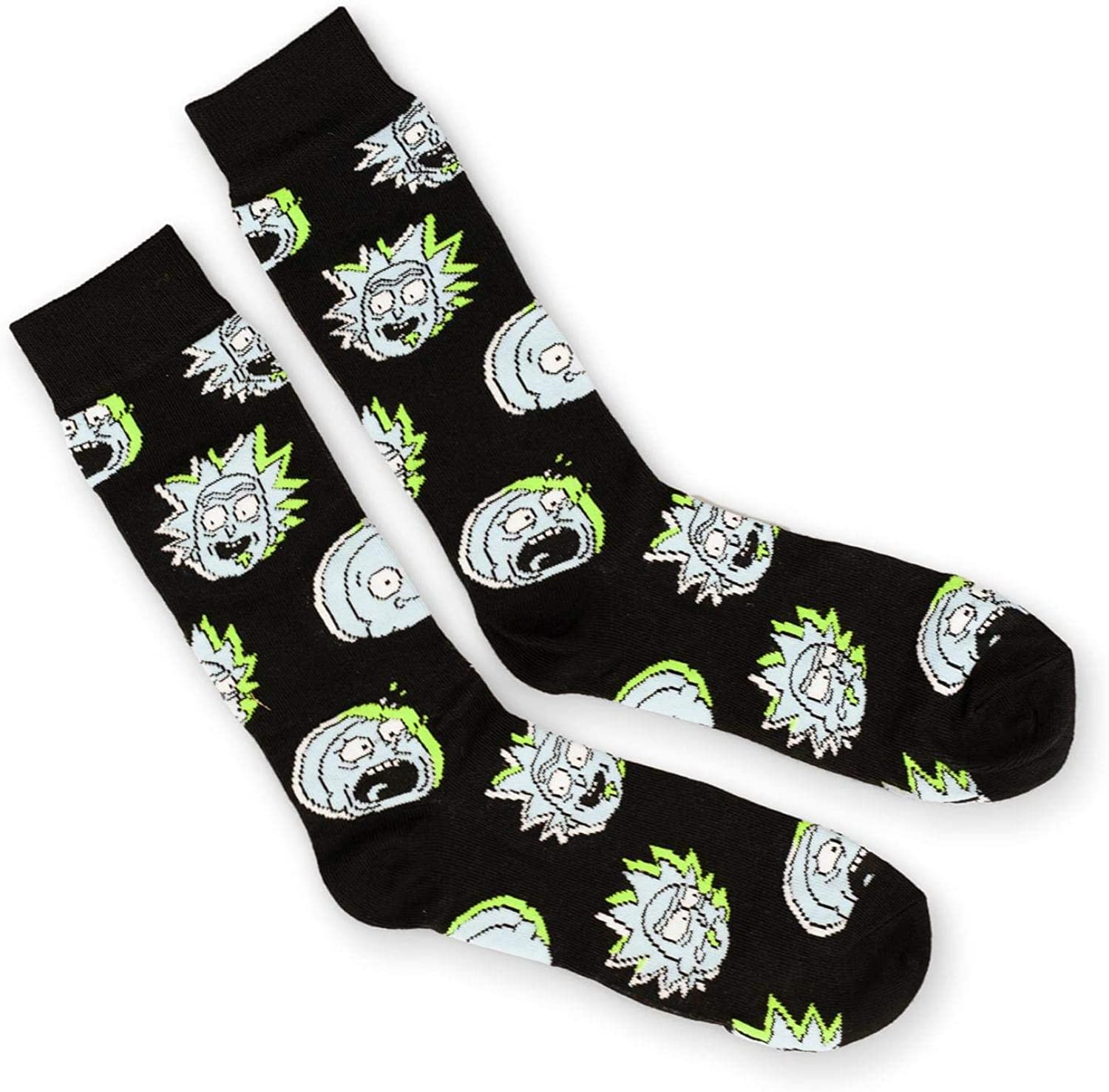 Rick and Morty Apparel | Rick and Morty Black Crew Sock | Toynk Toys