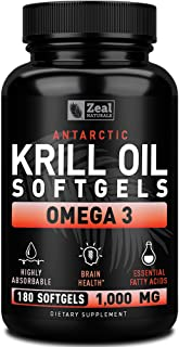 Pure Antarctic Krill Oil 1000mg (180 Softgels) 3 Month Supply Omega 3 Krill Oil Supplement with EPA, DHA & Astaxanthin - O...