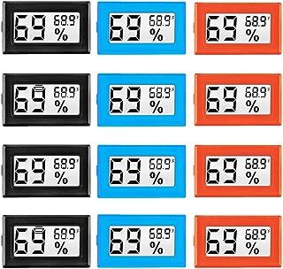 LinkDm 12 Pack Mini Digital Electronic Temperature Humidity Meters Gauge Indoor Thermometer Hygrometer LCD Display Fahrenheit (℉) for Humidors, Greenhouse, Garden, Cellar, Fridge, Closet